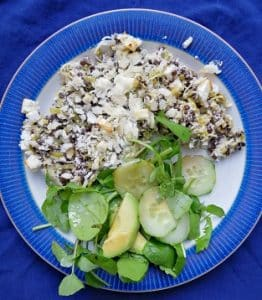 Leek and Puy Lentil Gratin with a crunchy Feta topping